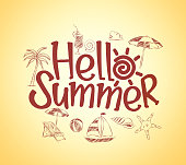 Simple Hello Summer Poster Design with Hand Drawing Vector Elements