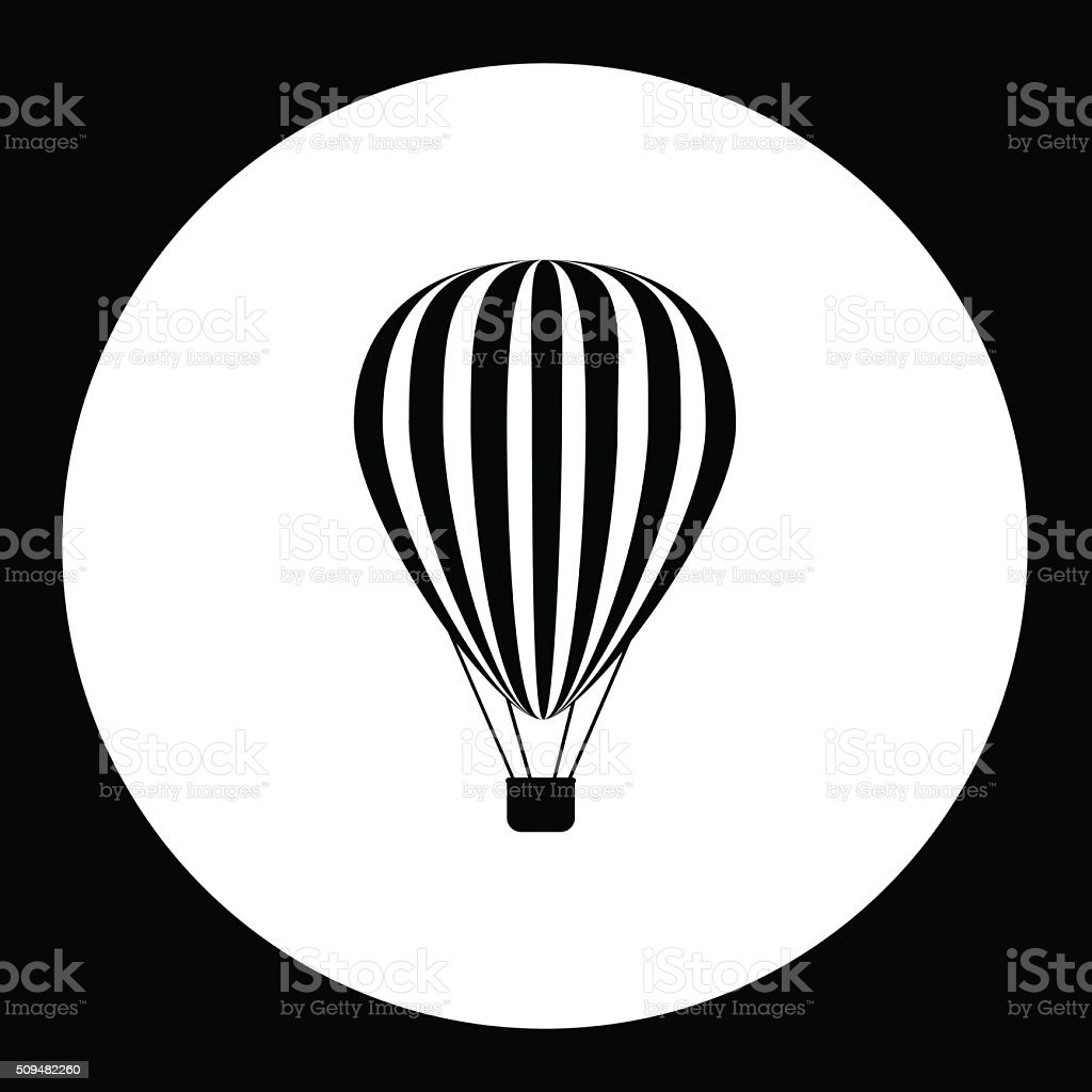 simple hot air balloon isolated black icon eps10 vector art illustration