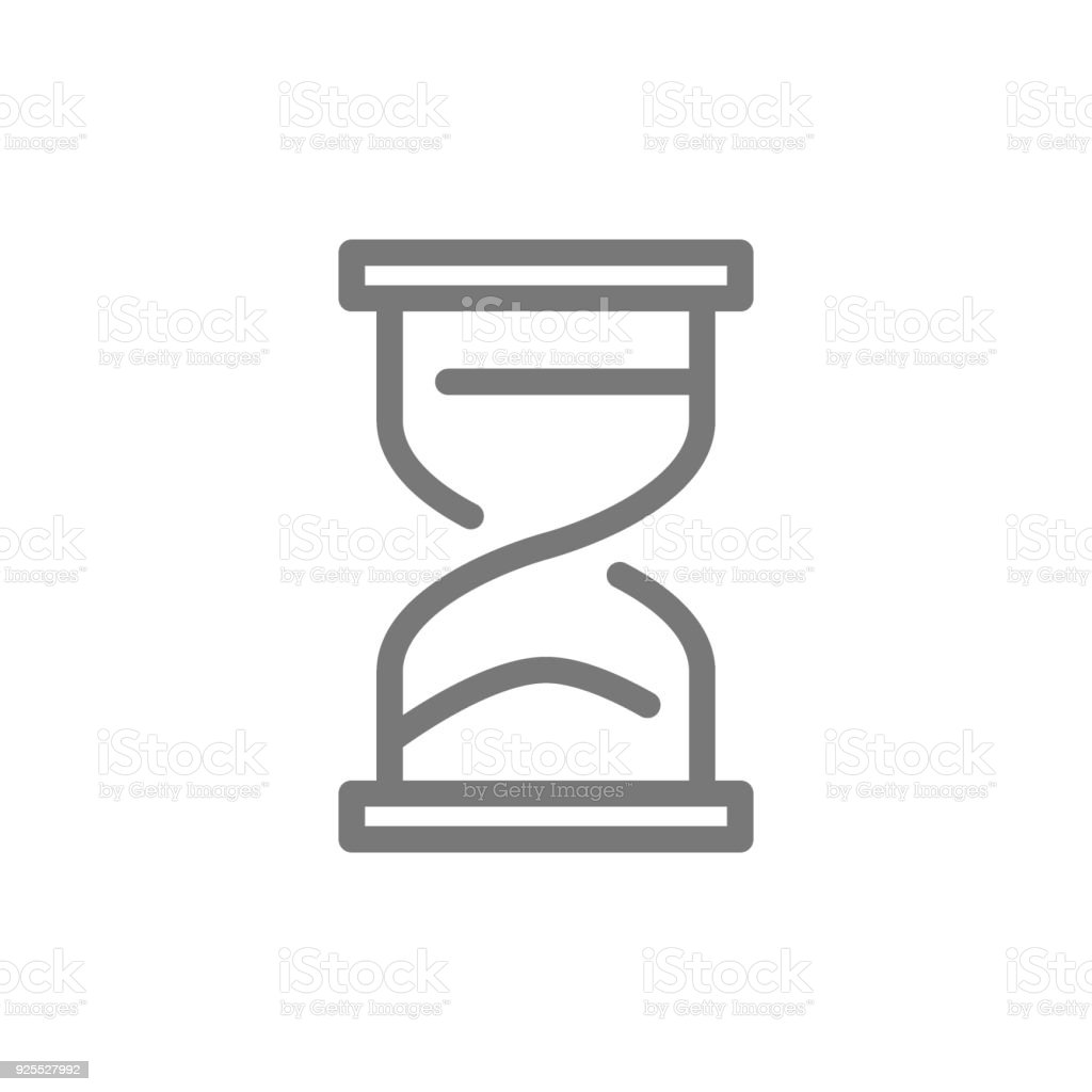 Simple hourglass and sandglass timer or clock line icon. Symbol and sign vector illustration design. Isolated on white background vector art illustration