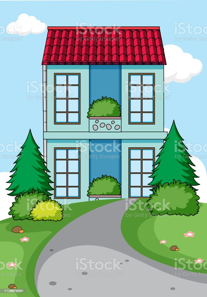 A simple house in nature background illustration