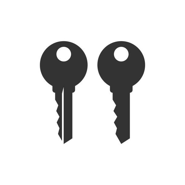 ilustrações, clipart, desenhos animados e ícones de conjunto de ícones silhueta vector preto chave casa simples. - chave