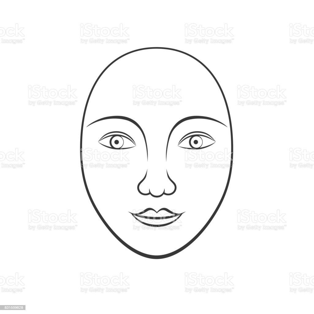 Basit Insan Yüzü Hat Sanatı Kozmetik Boyama Kullanım Için Uygun Stok