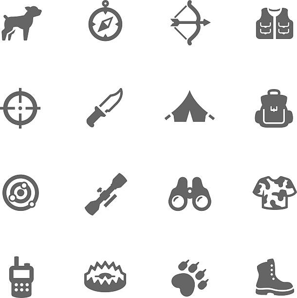 Simple Hunting Icons vector art illustration