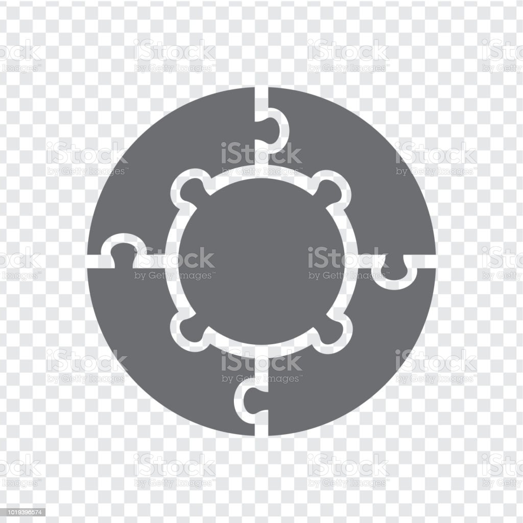 Simple icon circle puzzle in gray. Simple icon circle puzzle of the four  and center elements on transparent background. Flat design. Vector illustration EPS10. vector art illustration