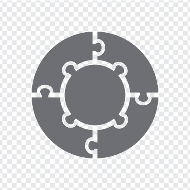 bildbanksillustrationer, clip art samt tecknat material och ikoner med enkel ikon cirkel pussel i grått. enkel ikon cirkel pussel av fyra och centrera element på transparent bakgrund. platt design. vektorillustration eps10. - puzzle