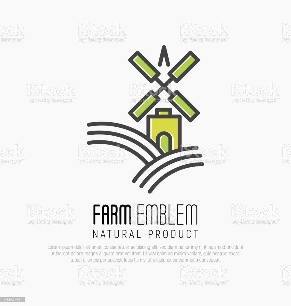 Simple Icon For Farm On The Green Hills With Meadow Field Or