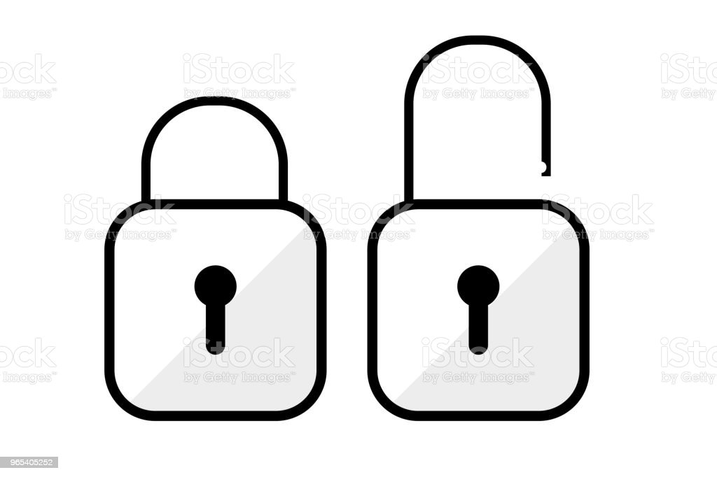 simple icon icon - lock and Unlock royalty-free simple icon icon lock and unlock stock vector art & more images of black color