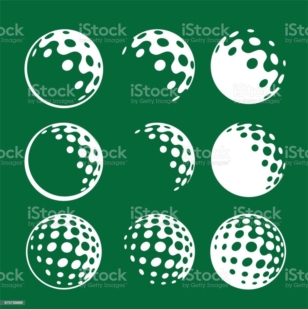 ícone de simples logotipo gráfico golfe bola branca sobre fundo verde - ilustração de arte em vetor