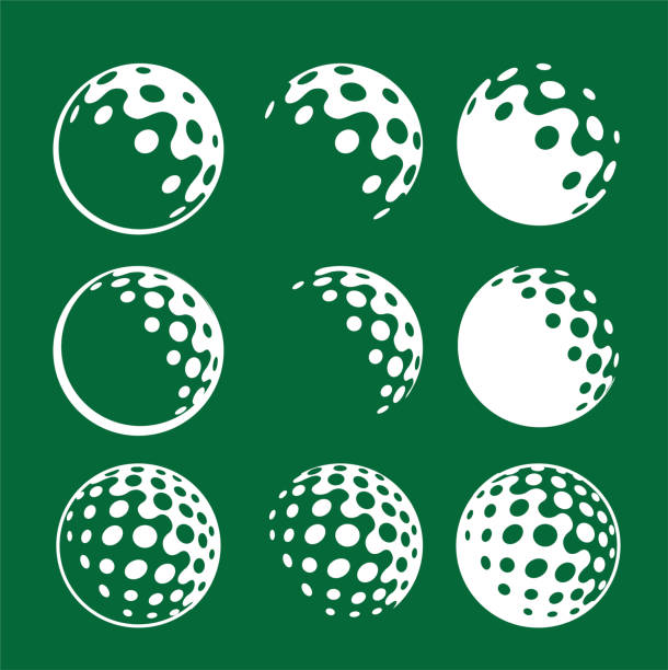 simple icon logo graphic white golfing ball on green background corporate identity golf ball iconic graphic golf balls golf ball stock illustrations
