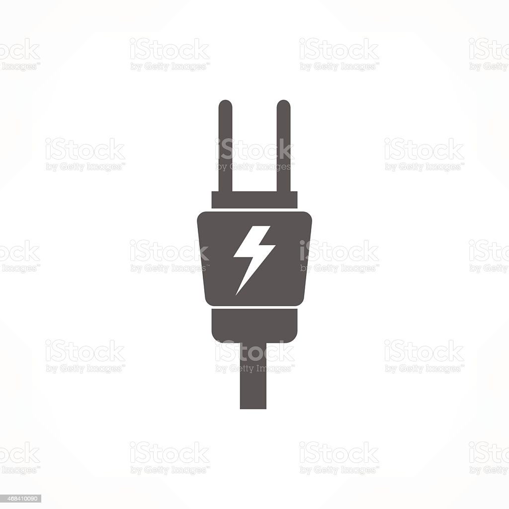 Simple Icon Of An Electric Plug With A Lightning Bolt Stock Vector ... for Vector Lighting Bolt  58cpg