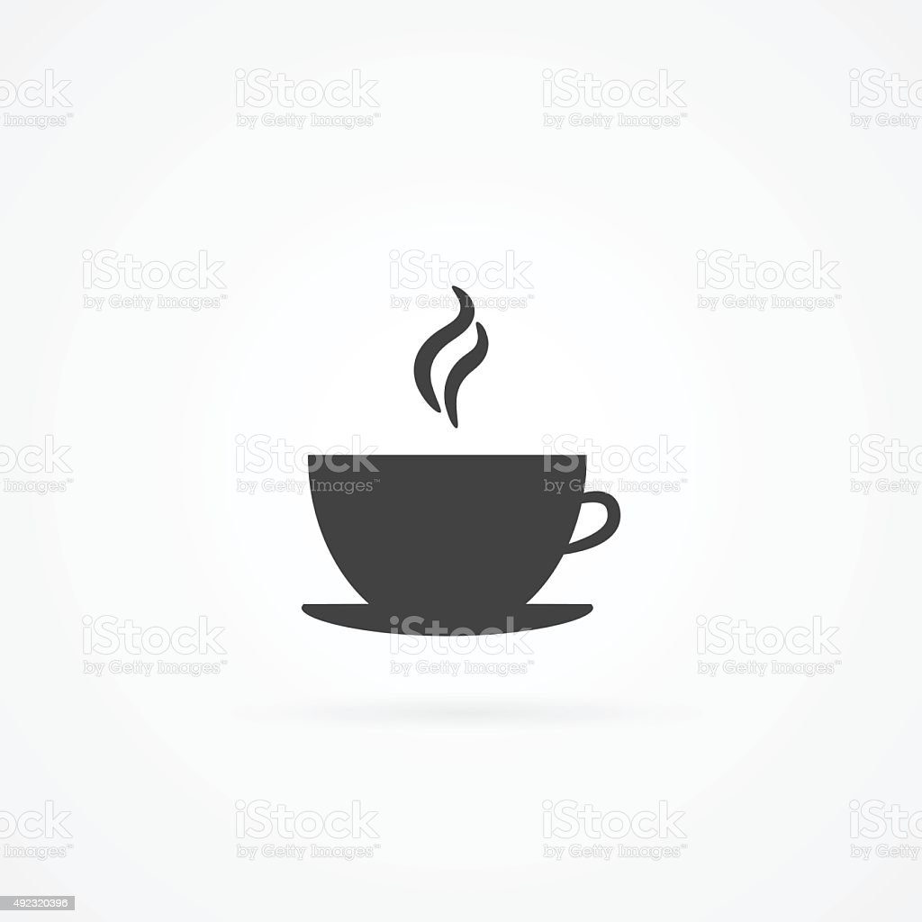 Simple icon of hot drink in cup. vector art illustration