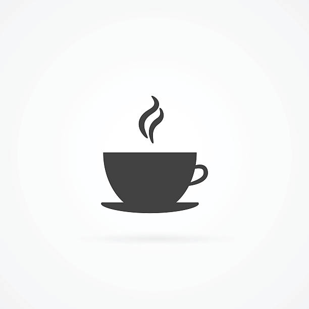 simple icon of hot drink in cup. - coffee cup stock illustrations, clip art, cartoons, & icons