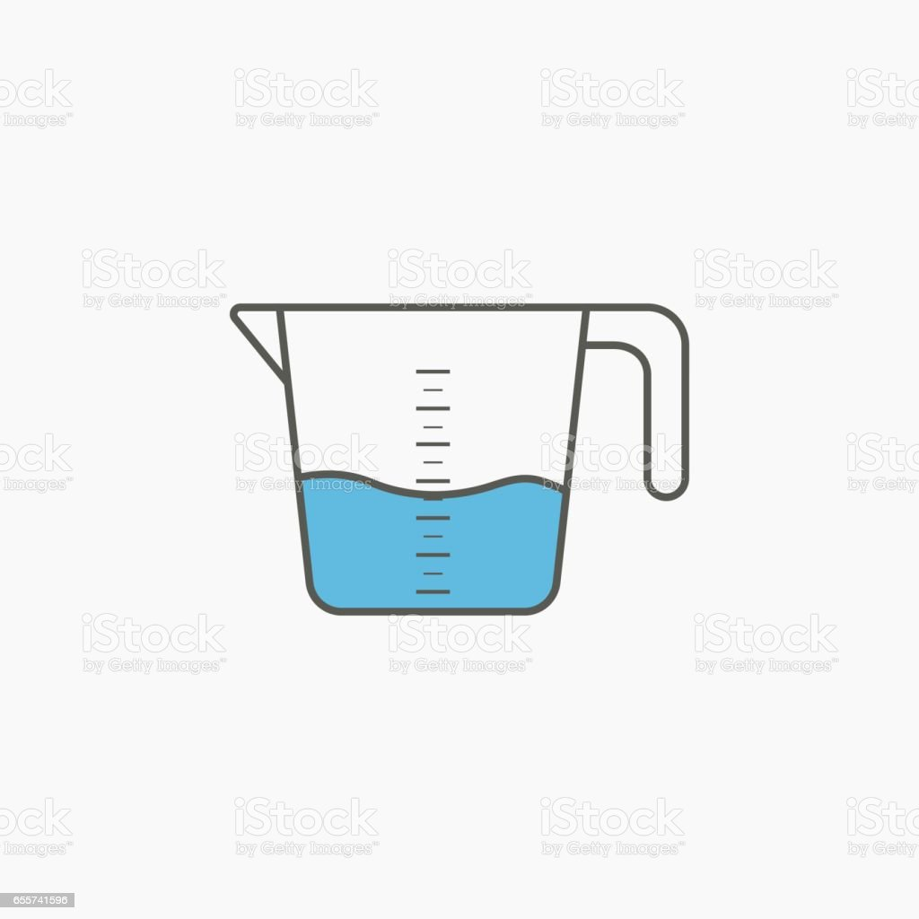 Simple icon of kitchenware measuring cup in flat style. Vector illustration. vector art illustration