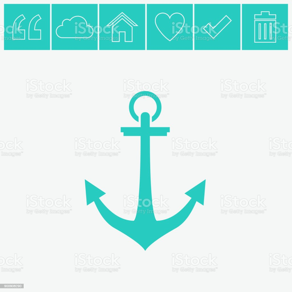 Simple icon on gray background. Anchor vector icon. vector art illustration