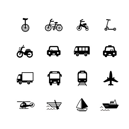Simple icon set for vehicles