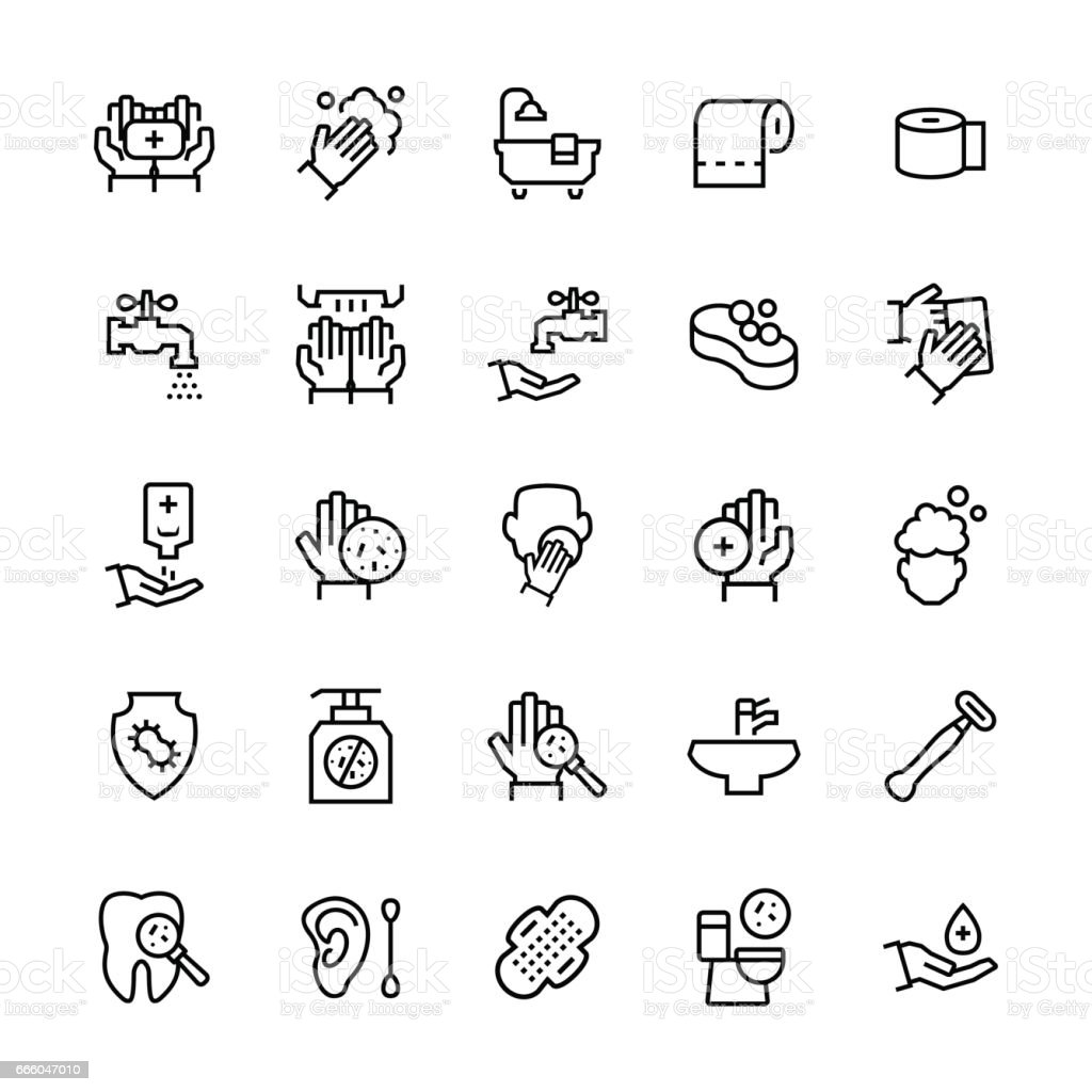 Simple icon set of hygiene items in thin line style. Vector symbols. vector art illustration
