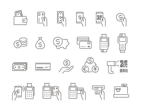 Simple icon Set of Money, Vector illustration