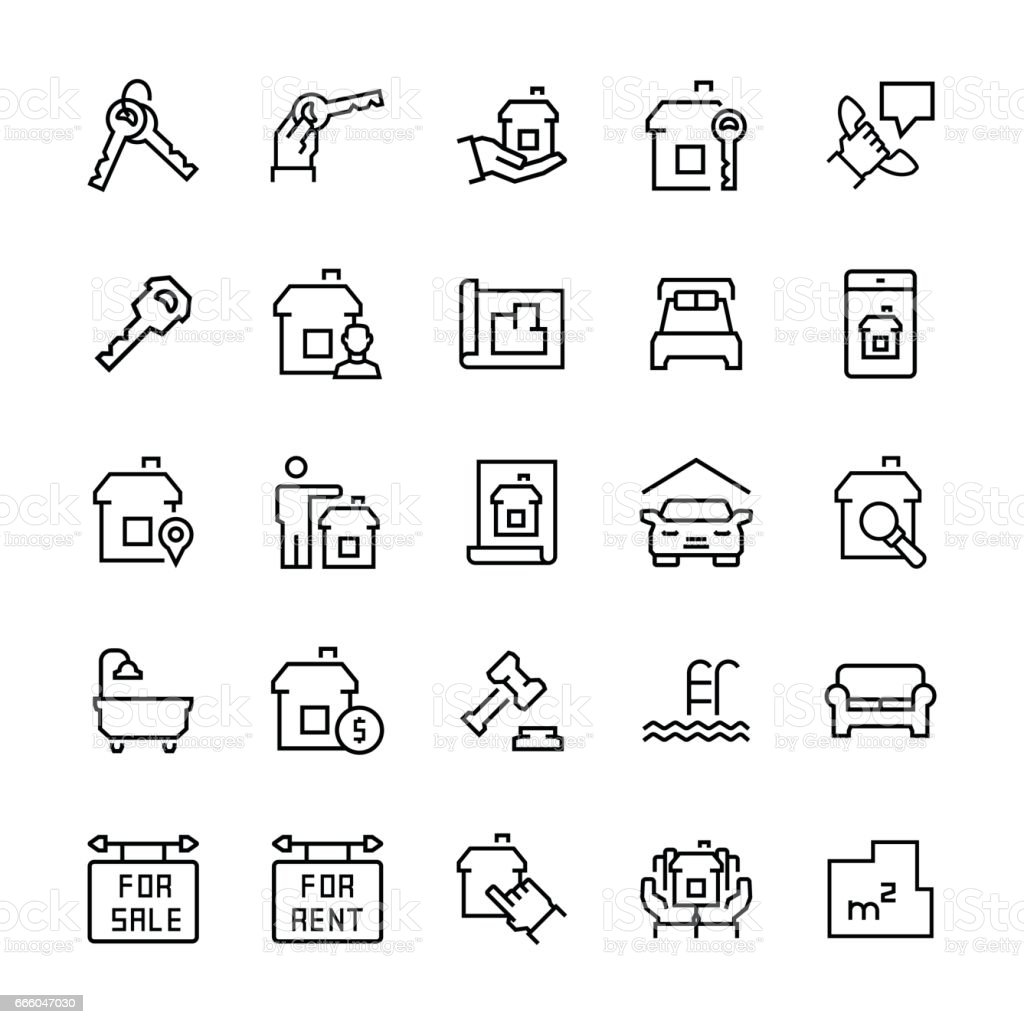 Simple icon set of real estate items in thin line style vector simple icon set of real estate items in thin line style vector symbols royalty biocorpaavc Image collections