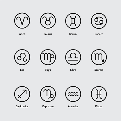 Simple icon set of Zodiac Signs