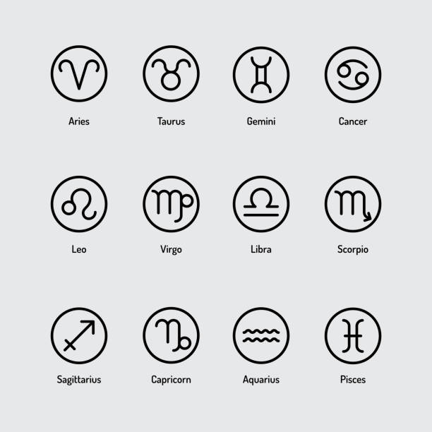 Simple icon set of Zodiac Signs vector art illustration
