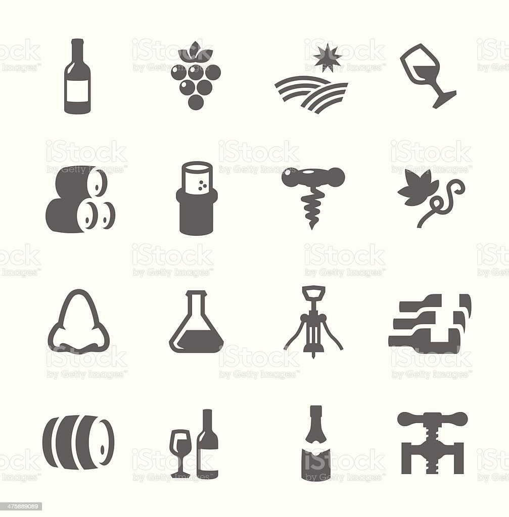 Simple Icon set related to Wine Production vector art illustration