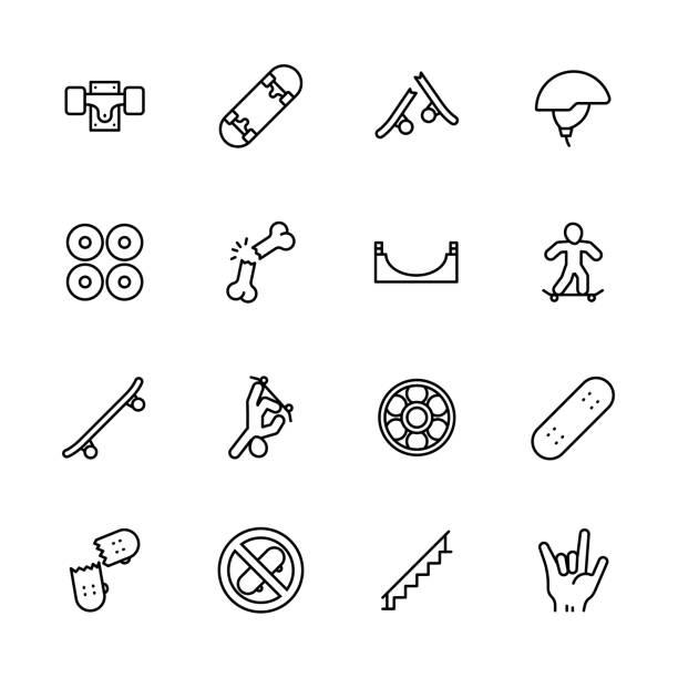 bildbanksillustrationer, clip art samt tecknat material och ikoner med enkel ikon uppsättning skateboard och ungdom idrott. innehåller sådana symboler skateboard, hjul, extrema sporter, skador, stunts, färdigheter - skatepark