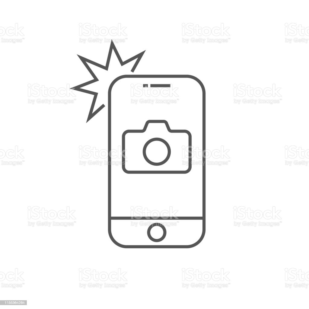 Simple icône smartphone avec caméra et Flash. Téléphone moderne avec le signe de photo pour la conception Web. Élément de contour vectoriel isolé. Contour modifiable. EPS 10 - clipart vectoriel de Affichage digital libre de droits