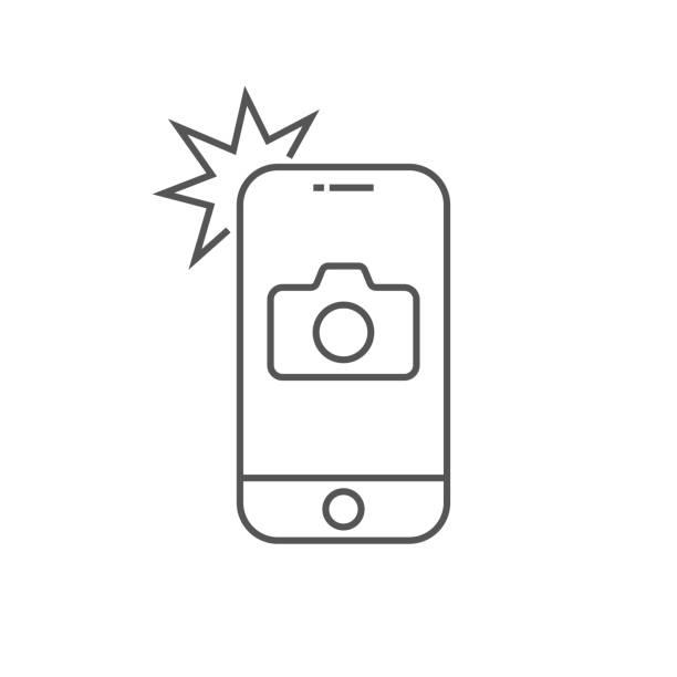 einfache icon-smartphone mit kamera und blitz. modernes telefon mit lichtbildschild für webdesign. vector umriss element isoliert. bearbeitbare stroke. eps 10 - fotografische themen stock-grafiken, -clipart, -cartoons und -symbole