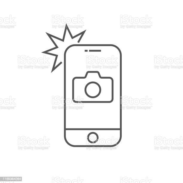Simple Icône Smartphone Avec Caméra Et Flash Téléphone Moderne Avec Le Signe De Photo Pour La Conception Web Élément De Contour Vectoriel Isolé Contour Modifiable Eps 10 Vecteurs libres de droits et plus d'images vectorielles de Affichage digital