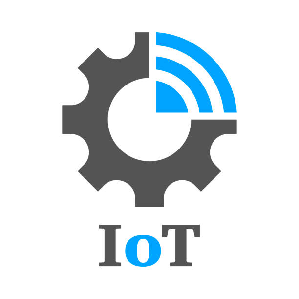 Simple icon to represent the Internet of Things concept. Gear, settings and network. Iot, Industry 4.0, 5G vector art illustration