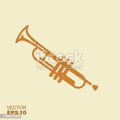 Simple icon Trumpet. Flat vector icon with scuffed effect in a separate layer