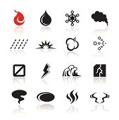 Cool vector icon set that expressed natural products of flame, liquid, and gas, etc.