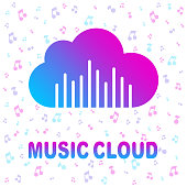 Cloud music library, audio and music streaming services concept. Colorful logo for apps, programs, web.