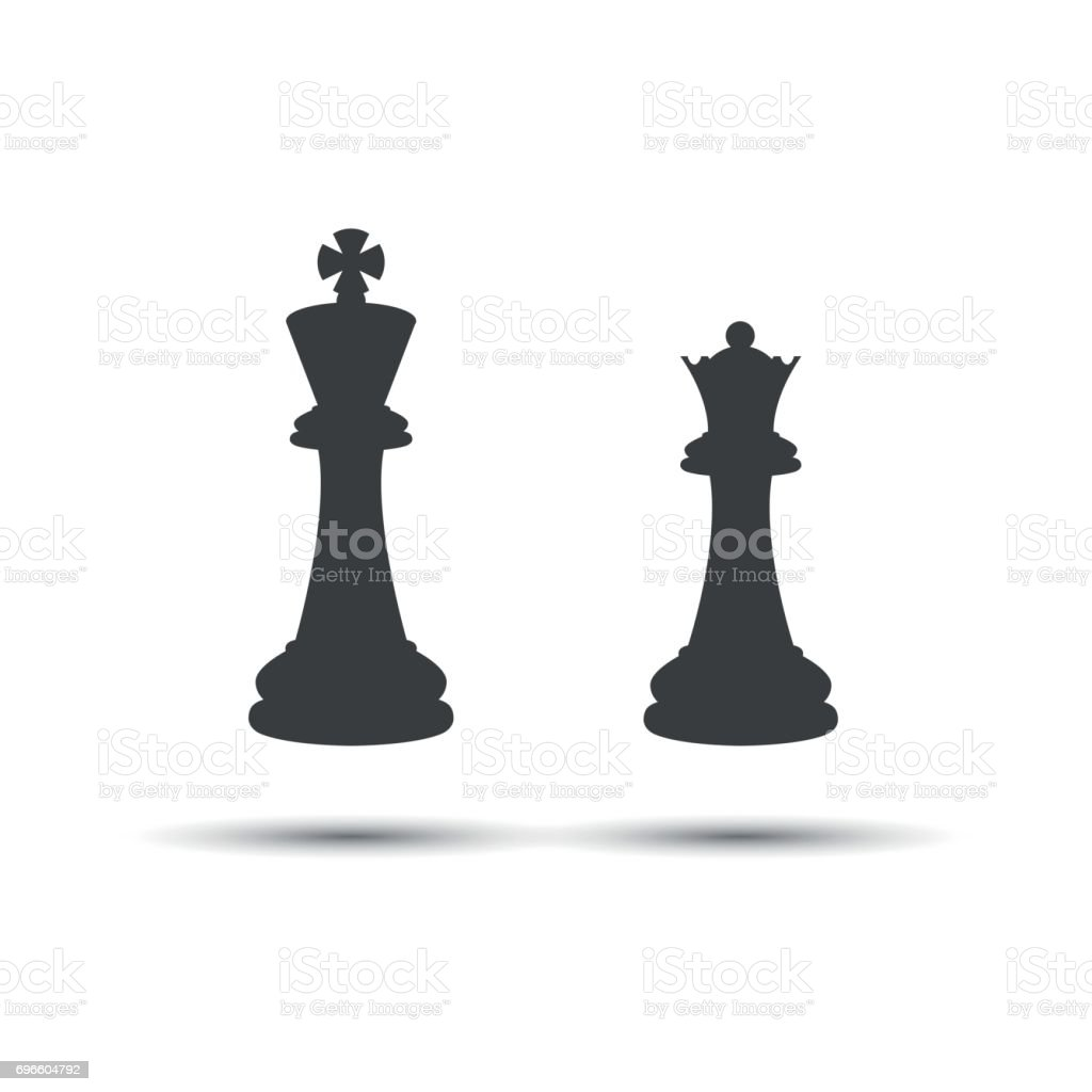 Simple Icons Chess Pieces King And Queen Stock Vector Art More
