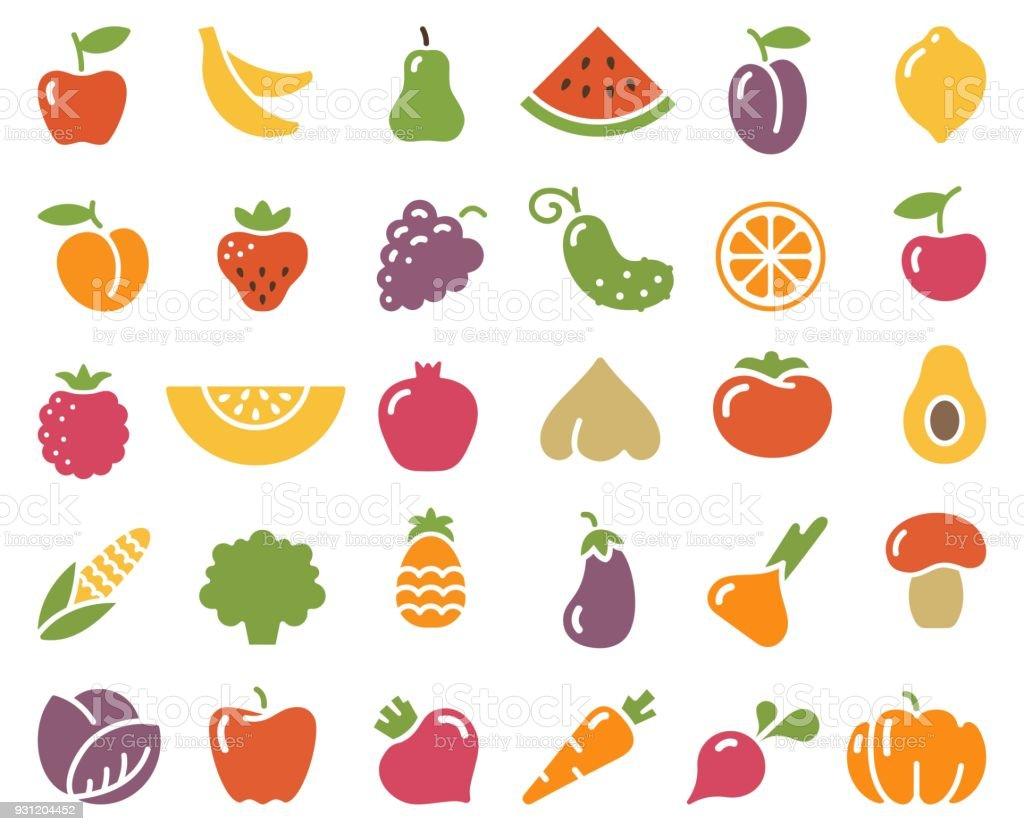 Einfache Symbole Von Gemüse Und Obst Stock Vektor Art und mehr ...