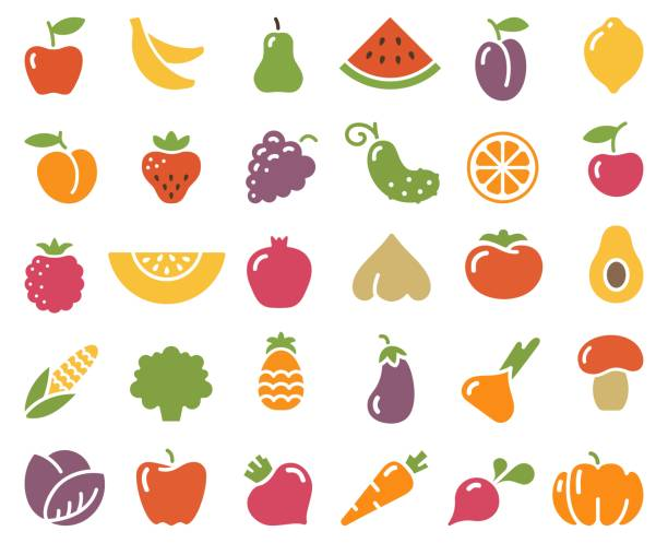 Simple icons of vegetables and fruit Simple stylized icons of vegetables and fruits avocado silhouettes stock illustrations