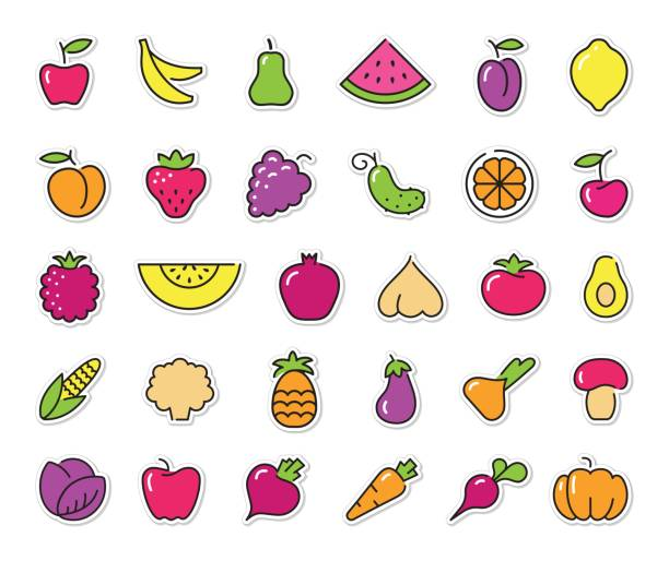 Simple icons of vegetables and fruit. Vector stickers Simple stylized icons on stickers of vegetables and fruits avocado silhouettes stock illustrations