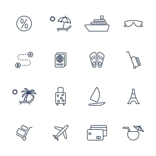 Simple icons set for web, apps, programs and other Set of 16 vector icons for software, application or websites - social media and technology waterfront stock illustrations