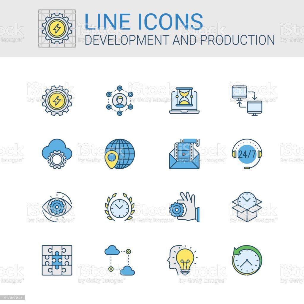 Icônes simples ensemble de développement et de Production dans le style de ligne - Illustration vectorielle
