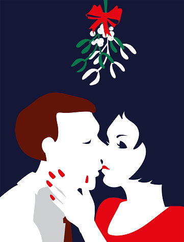 Simple Illustration Man and Woman Kiss Under The Mistletoe
