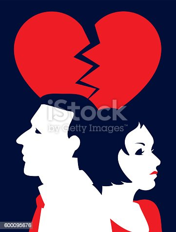 Broken heart! A stylized vector cartoon reminiscent of a screen print poster, of a couple under  a giant broken red heart. Symbolizing heartbreak, divorce, relationship difficulties or infidelity. Man, Woman, Heart and background are on different layers for easy editing. Please note: clipping paths have been used.