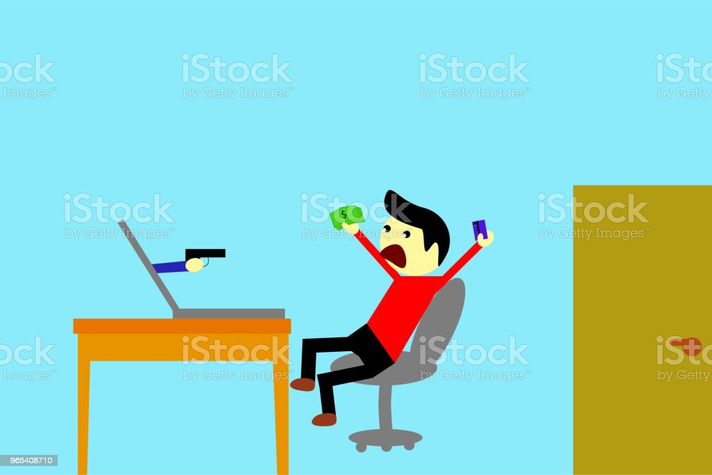 simple illustration, Man - Victim of Cyber crime royalty-free simple illustration man victim of cyber crime stock vector art & more images of no people