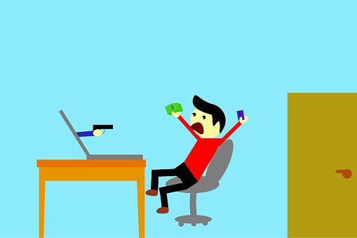 간단한 그림 남자피해자의 사이버 범죄 깡패에 대한 스톡 벡터 아트 및 기타 이미지