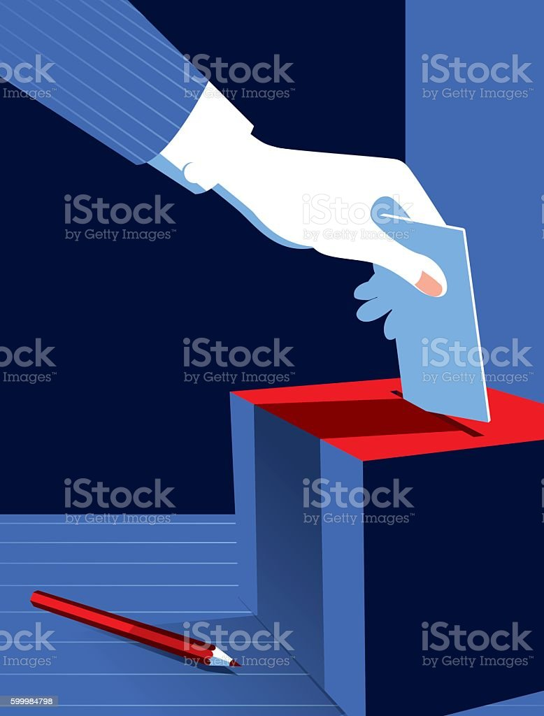 Simple Illustration Man Voting at the Ballot Box vector art illustration