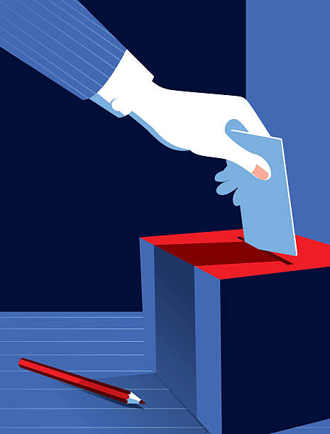 Simple Illustration Man Voting at the Ballot Box vector art illustration