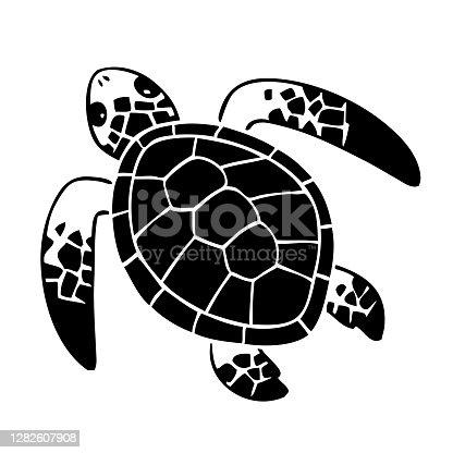 Simple illustration of a sea turtle.