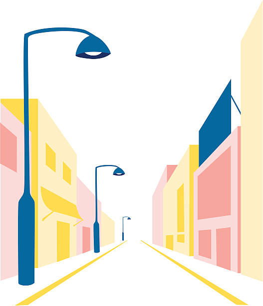 Simple illustration of a street An empty small town street in one-point perspective. diminishing perspective stock illustrations