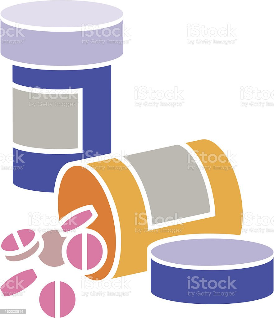 Simple illustration of pill bottle spilling pills vector art illustration