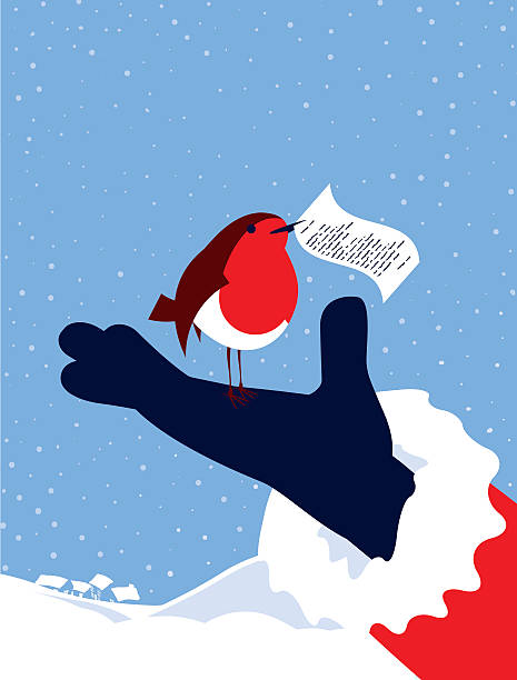 simple illustration robin bird, note and father christmas - rotkehlchen stock-grafiken, -clipart, -cartoons und -symbole