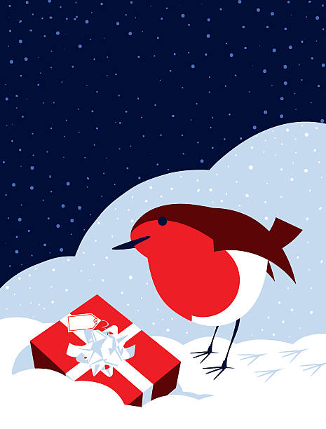 simple illustration robin bird, snow and christmas present - rotkehlchen stock-grafiken, -clipart, -cartoons und -symbole